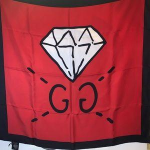 ❤️GUCCI GHOST Scarf Stole Silk Diamond Print Red